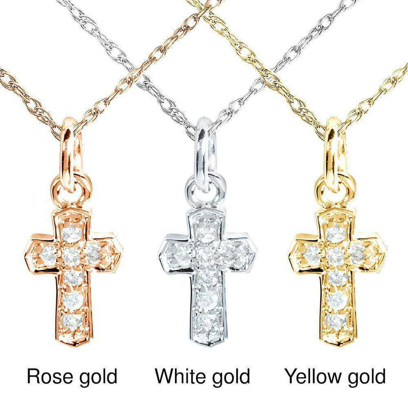 Kobelli Tiny Diamond Accented Cross Pendant & Chain in 14K Gold