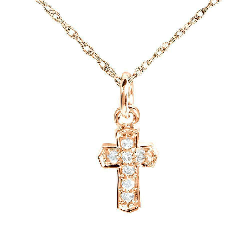 Kobelli Tiny Diamond Accented Cross Pendant & Chain in 14K Gold 14103DM_RG