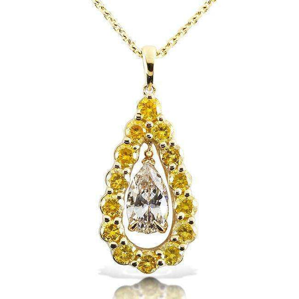 Kobelli Fancy Yellow and White Diamond Pendant 2 3/8ct.tw 14k Two Tone Gold 14123X
