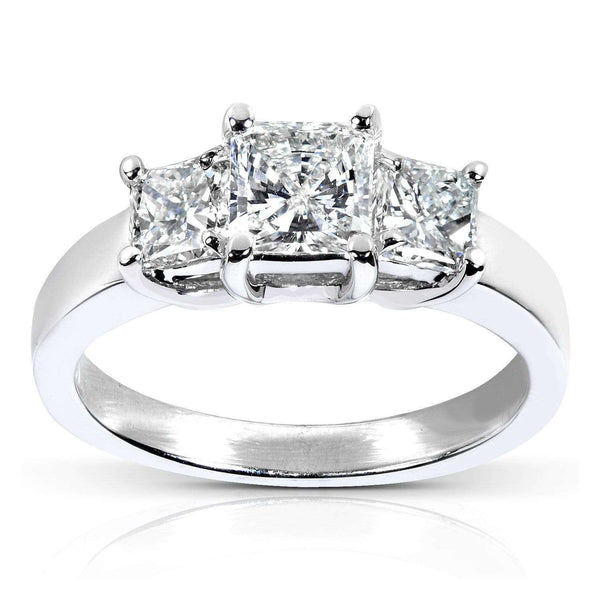 Kobelli Three Stone Radiant-cut Diamond Engagement Ring 1 5/8 Carat (ctw) in 14k White Gold (Certified)