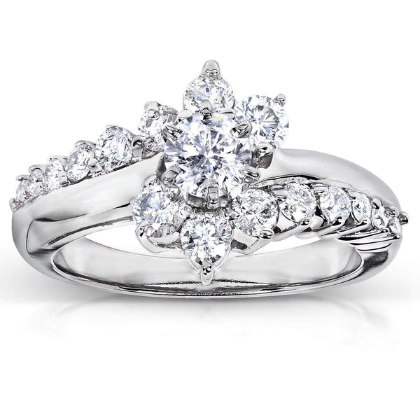 Kobelli Floral Round Brilliant Cluster Diamond Engagement Ring 1 carat (ctw) in 14k White Gold