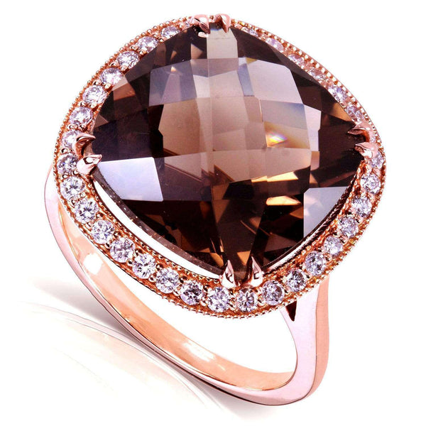 Kobelli Smoky Quartz and Diamond Ring 14k Rose Gold (8 1/4 CTW)