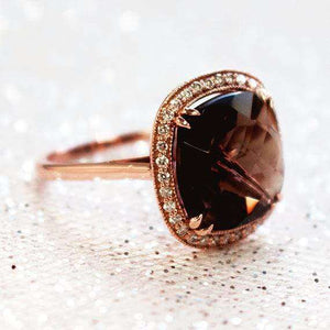 Smoky Quartz and Diamond Ring 14k Rose Gold (8 1/4 CTW)
