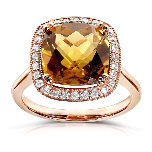 Kobelli Cinnamon Quartz and Diamond Ring 10k Gold (4 1/5 CTW) 14207X_7.0