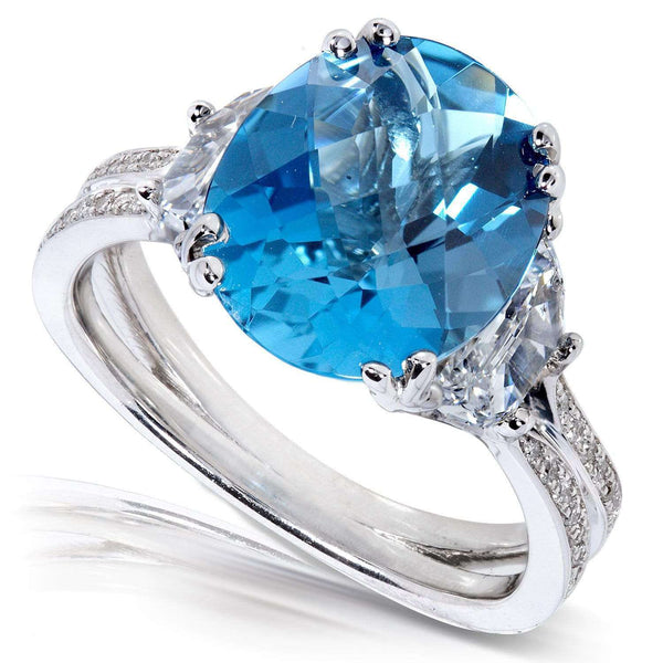 Kobelli London Blue Topaz and Diamond Engagement Ring 5 1/4 Carat (ctw) in 14k White Gold