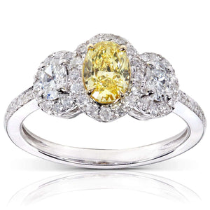 Certified Fancy Yellow and White Diamond 3 Stone Halo 1 1/3 CTW Engagement Ring 14k Gold