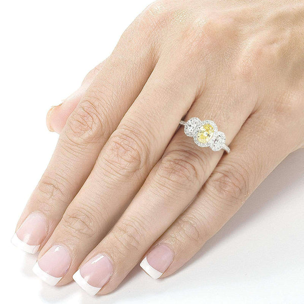 Kobelli Certified Fancy Yellow and White Diamond 3 Stone Halo 1 1/3 CTW Engagement Ring 14k Gold