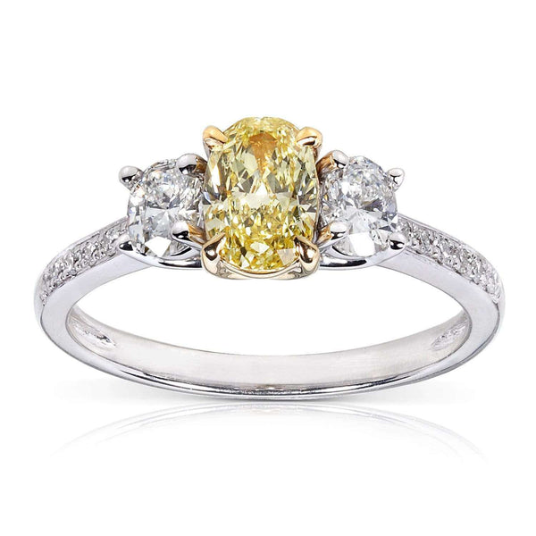 Kobelli Fancy Yellow and White Diamond Engagement Ring 1 1/10 Carat (ctw) in 14k Gold (Certified)
