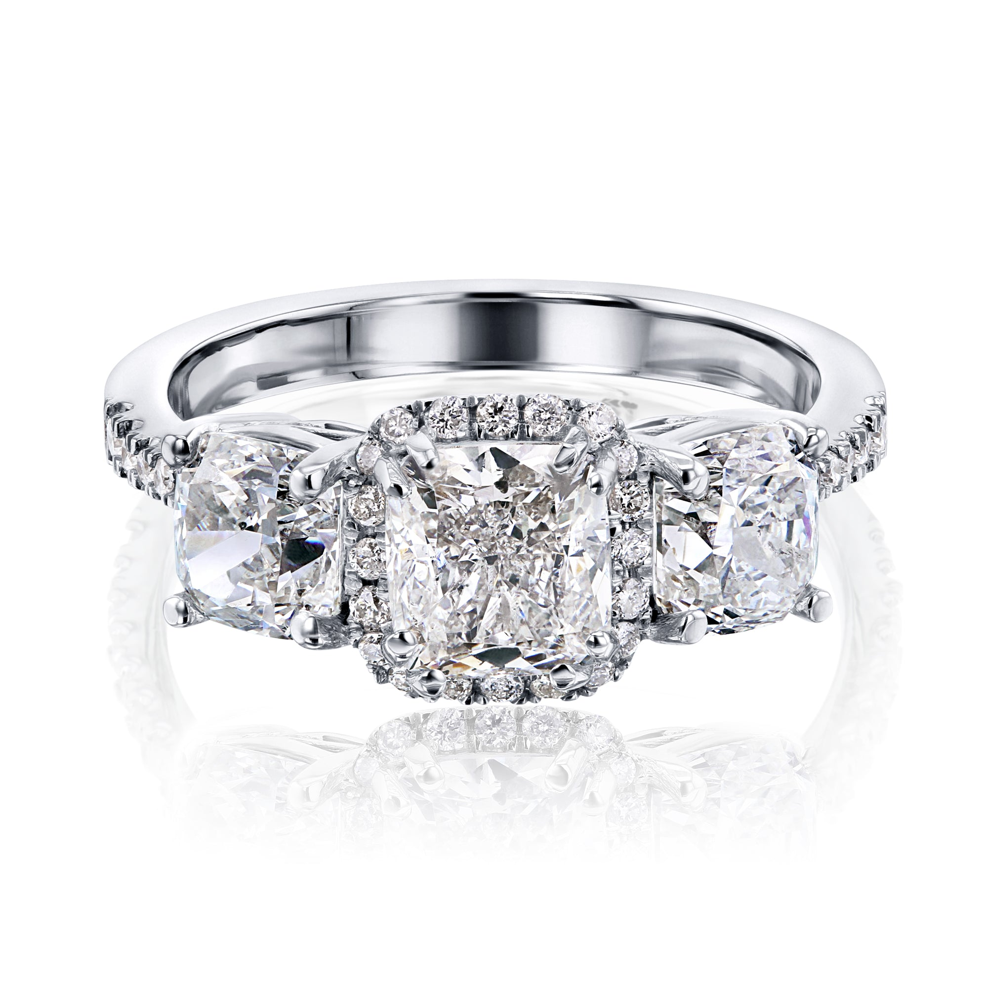 Reviews Three-Stone Diamond Halo Engagement Ring (Certified) - 6.5 white-gold