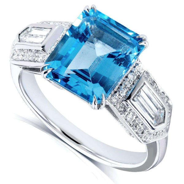 Kobelli Blue Topaz and Diamond Engagement Ring 4 1/2 Carat (ctw) in 14k White Gold