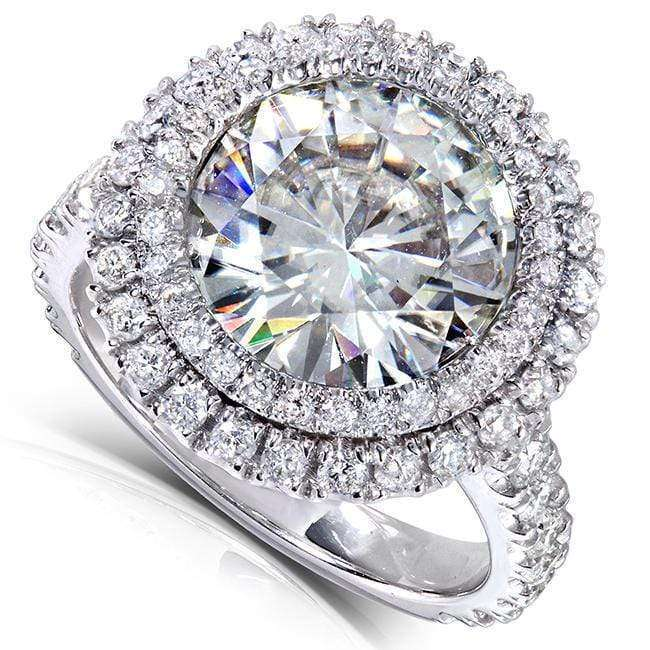 Promos Double Halo Round Moissanite and Diamond Engagement Ring 5 7/8 Carat (ctw) in 14k White Gold - 9