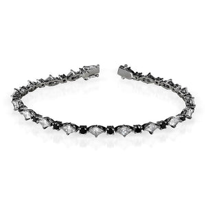 Black and White Diamond Bracelet 4ct.tw 14k Black Gold (FG/SI1)