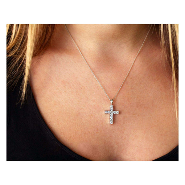 Kobelli 1-1/5ct.tw Diamond Cross Pendant Necklace 14k Gold