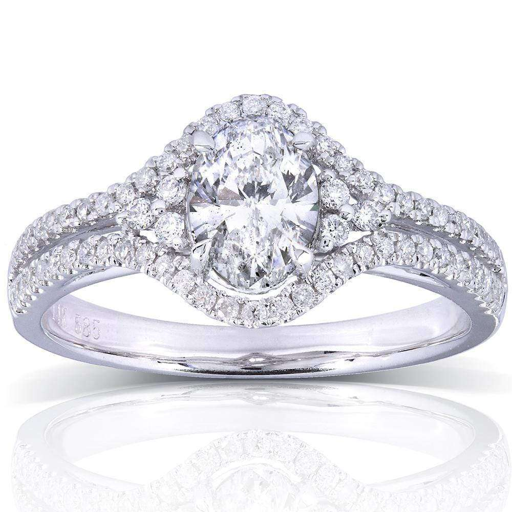 Best Oval Cut Diamond Engagement Ring 1 Carat (ctw) in 14K White Gold - 6