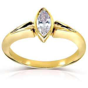Marquise Diamond Solitaire Ring 3/4 Carat in 14k Yellow Gold (Certified)