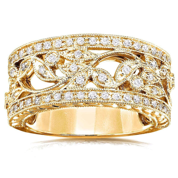 Kobelli Vintage Diamond Floral Band 1/4 CTW in 14K Yellow Gold