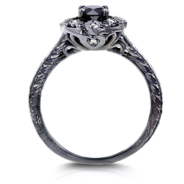 Kobelli All-Black Floral Antique Diamond Black Gold Ring 3/5 CTW in 14K