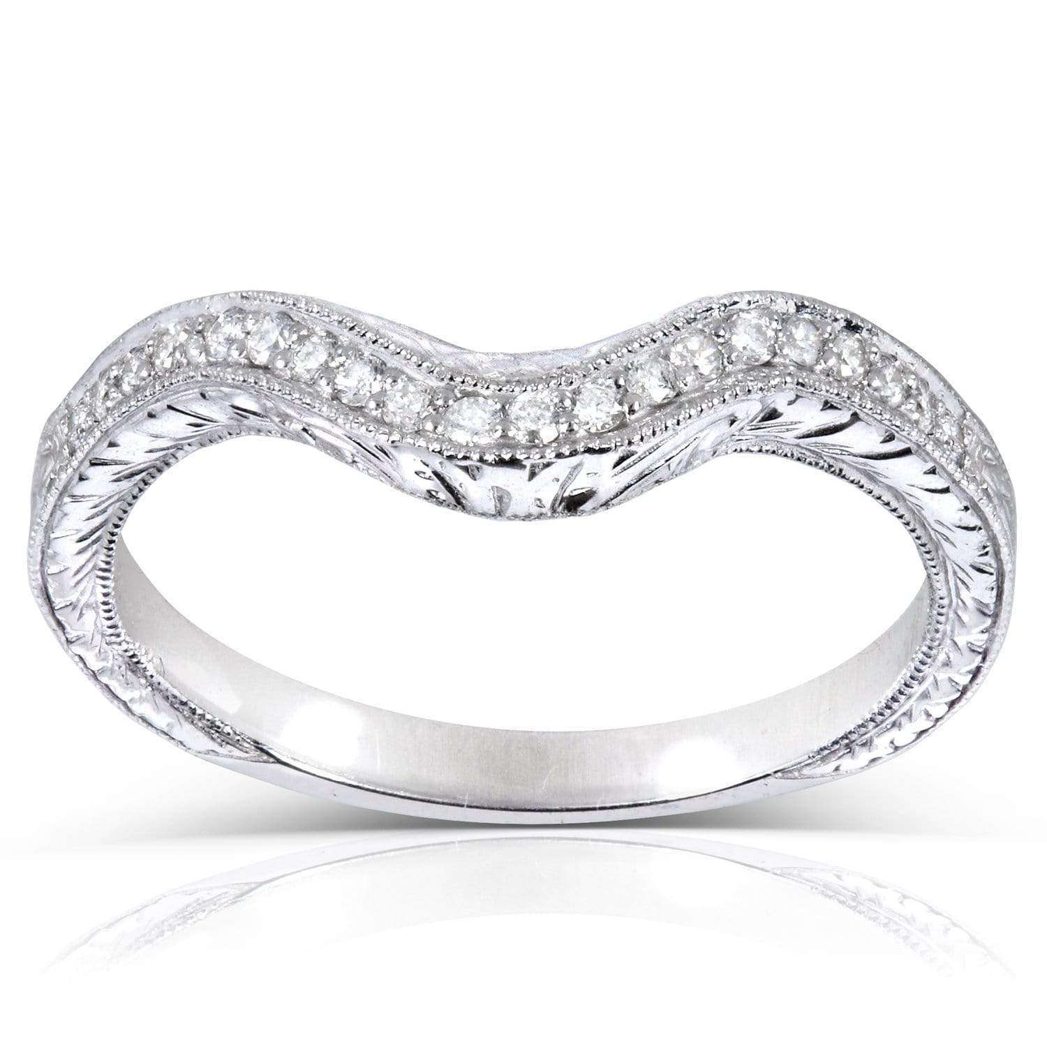 Coupons Contoured Diamond Band 1/10 Carat (ctw) in 14k White Gold (Matching Band to Ring 31044RD-40ENGDM) - 8.5