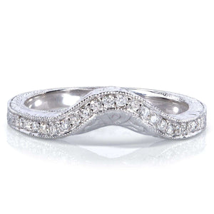 Contoured Diamond Band 1/10 Carat (ctw) in 14k White Gold (Matching Band to Ring 31044RD-40ENGDM)