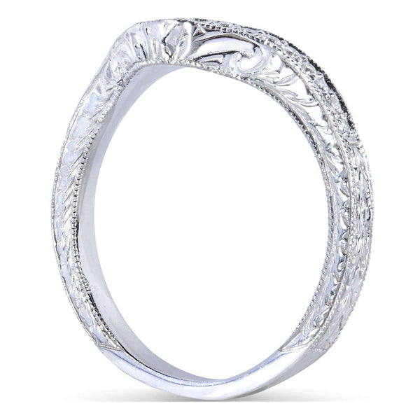 Kobelli Contoured Diamond Band 1/10 Carat (ctw) in 14k White Gold (Matching Band to Ring 31044RD-40ENGDM)