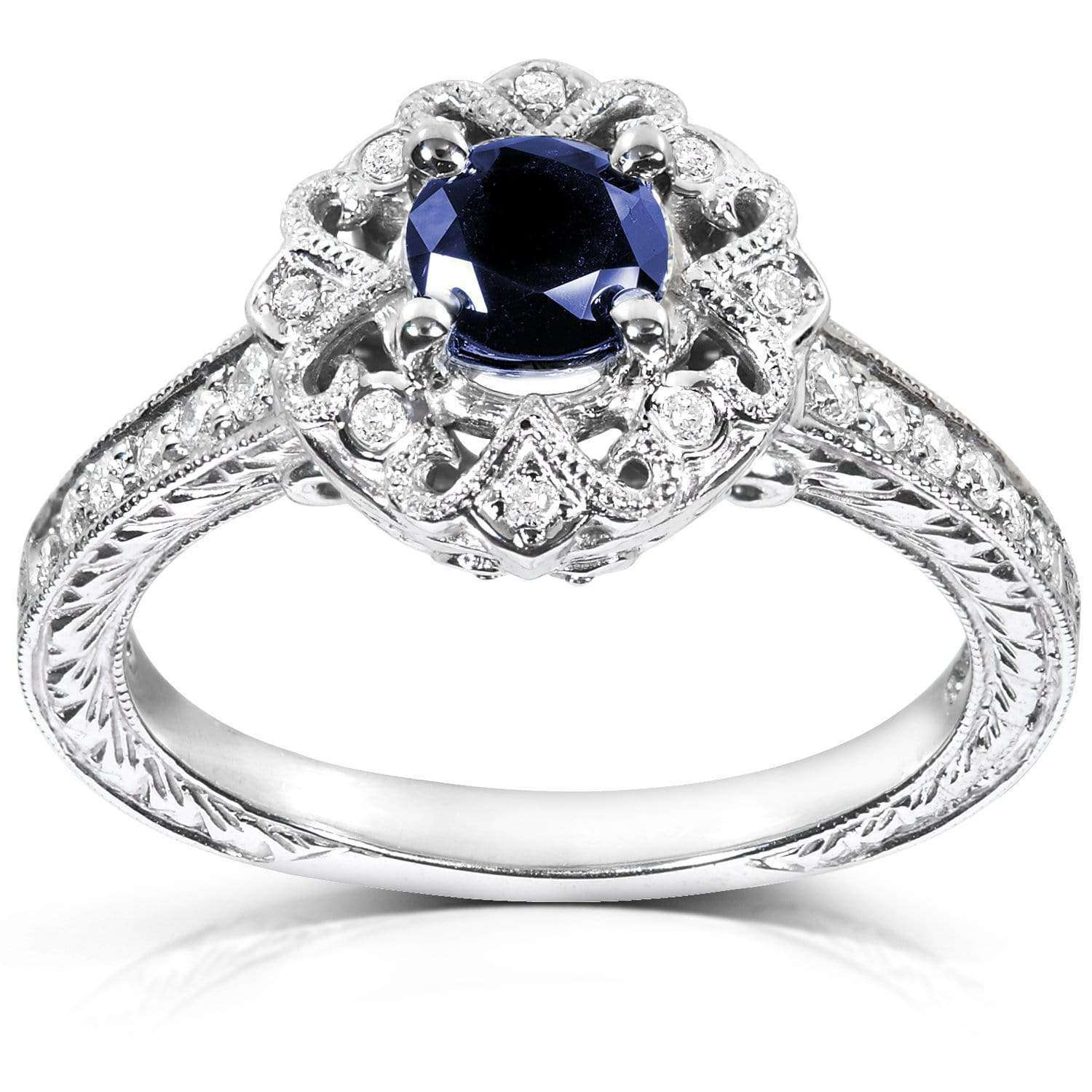 Coupons Antique Round-cut Sapphire and Diamond Engagement Ring 3/4 Carat (ctw) in 14k White Gold - 10.5