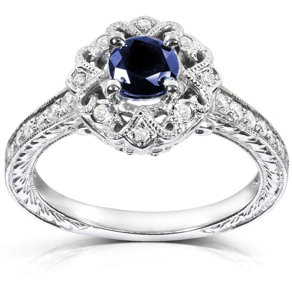 Kobelli Antique Round-cut Sapphire and Diamond Engagement Ring 3/4 Carat (ctw) in 14k White Gold