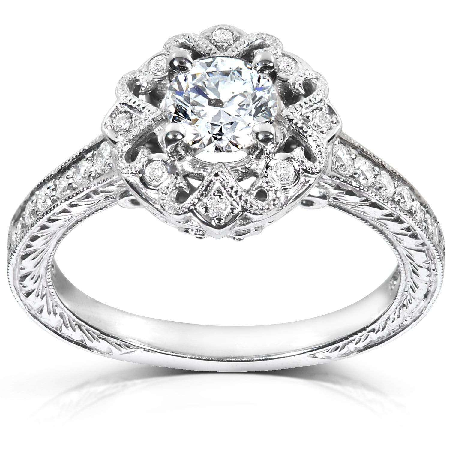 Coupons Antique Diamond Engagement Ring 1/2 carat (ctw) in 14k White Gold - 5.5