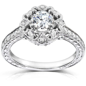 Antique Diamond Engagement Ring 1/2 carat (ctw) in 14k White Gold