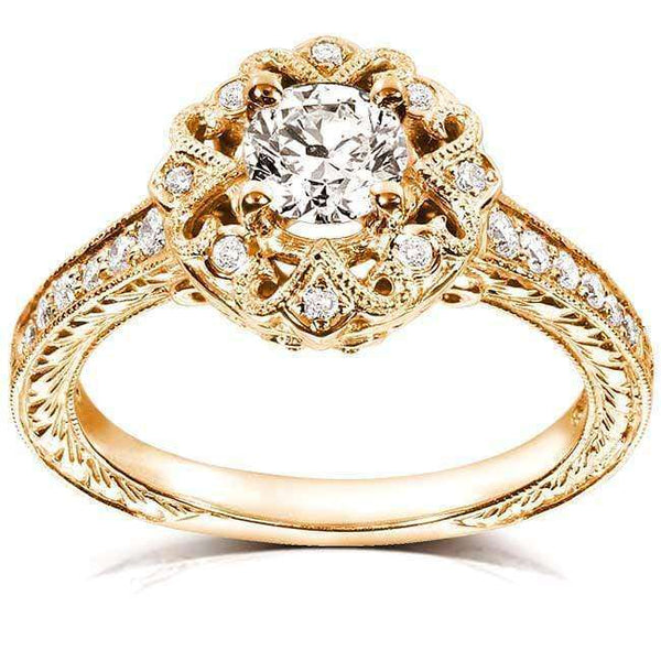 Kobelli Antique Diamond Engagement Ring 1/2 carat (ctw) in 14k Yellow Gold