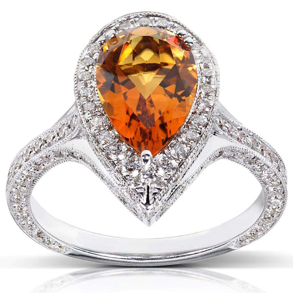Kobelli Pear Pointed Orange Citrine Diamond Halo Ring (2 7/8 CTW)