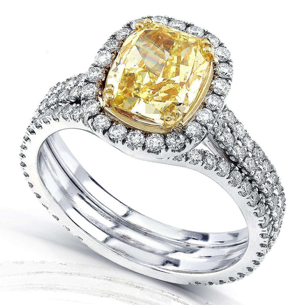 Kobelli Fancy Yellow Diamond Halo Ring 3 Carats CTW in 18k Gold (GIA Certified) - Size 6.5 31057RAD/6.5