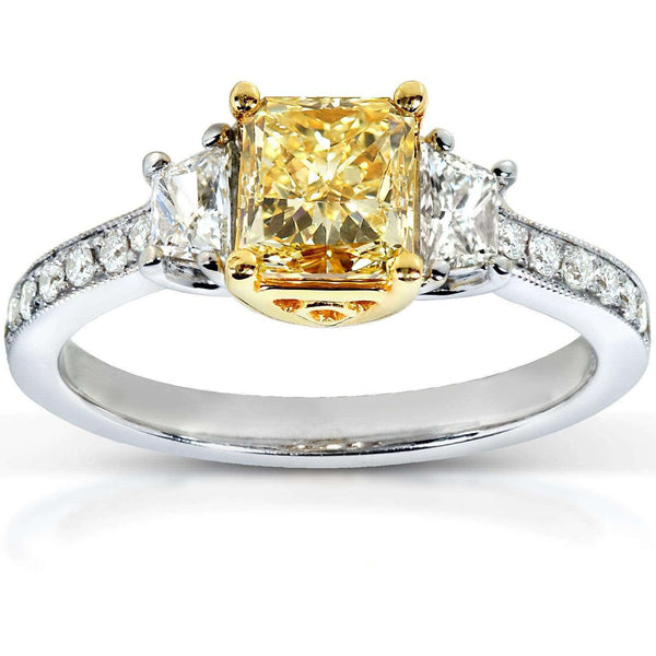 Kobelli Fancy Yellow Radiant Diamond 3-Stone Engagement Ring 1 3/4 CTW in 18k Gold