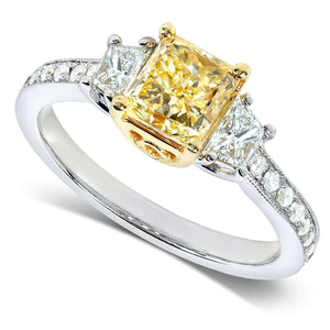 Fancy Yellow Radiant Diamond 3-Stone Engagement Ring 1 3/4 CTW in 18k Gold