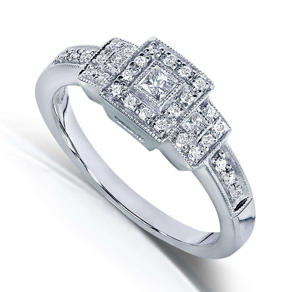 Kobelli Three Stone Princess-cut Diamond Engagement Ring 1/4 Carat (ctw) in 14k White Gold