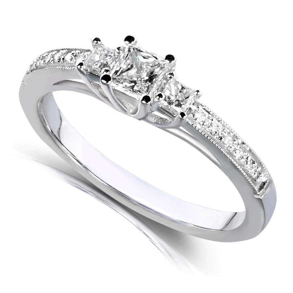 Kobelli Three Stone Princess-cut Diamond Engagement Ring 1/3 Carat (ctw) in 14k White Gold