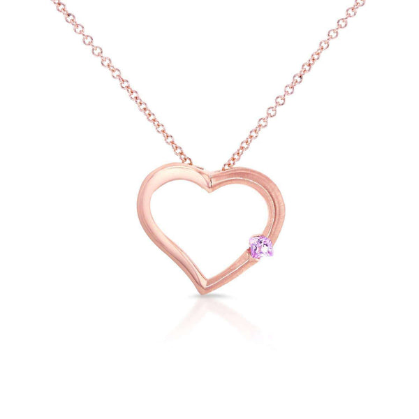 "Kobelli Pink Sapphire Heart Pendant in 14K Rose Gold (16"" Chain) 3650PK-R"