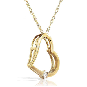 Diamond Heart Pendant in 14K White Rose or Yellow Gold