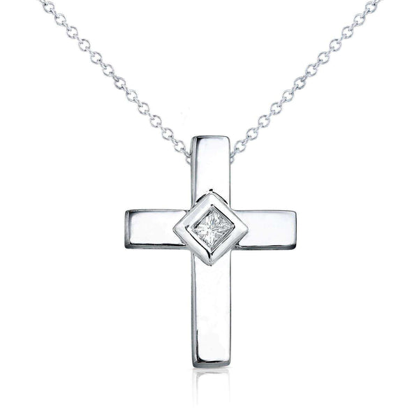 Kobelli Diamond Solitaire Cross Pendant & Chain in 14K White Gold 3741WDM
