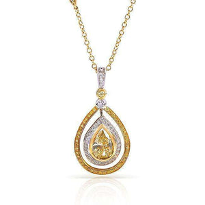 Fancy Yellow and White Diamond Pendant 2 1/6 Carat (ctw) in 18k Two Tone Gold (GIA Certified)