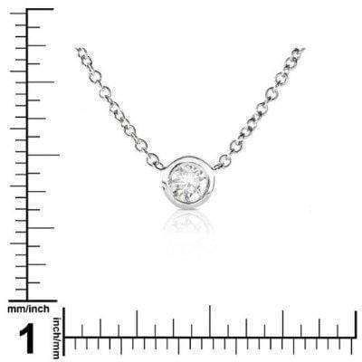 Kobelli Diamond Solitaire 1/6 Carat Bezel Necklace in Platinum 6698-17PLATDM