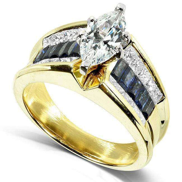 Kobelli 2.75ct TGW Marquise Diamond & Blue Sapphire Channel Ring - Size 6.25 4829X-MQ44C
