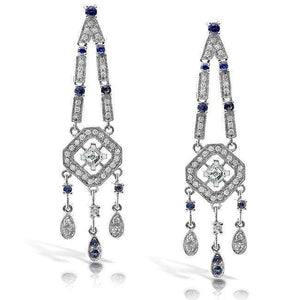 Sapphire and Diamond Earrings 1 1/3 Carat (ctw) in 18k White Gold