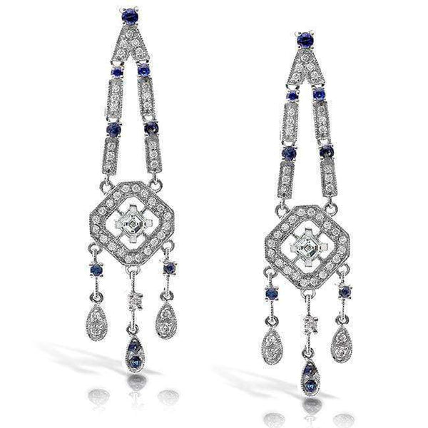 Kobelli Sapphire and Diamond Earrings 1 1/3 Carat (ctw) in 18k White Gold 51146X