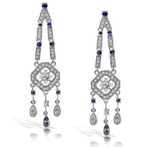 milgrain sapphire and diamond dangle earrings