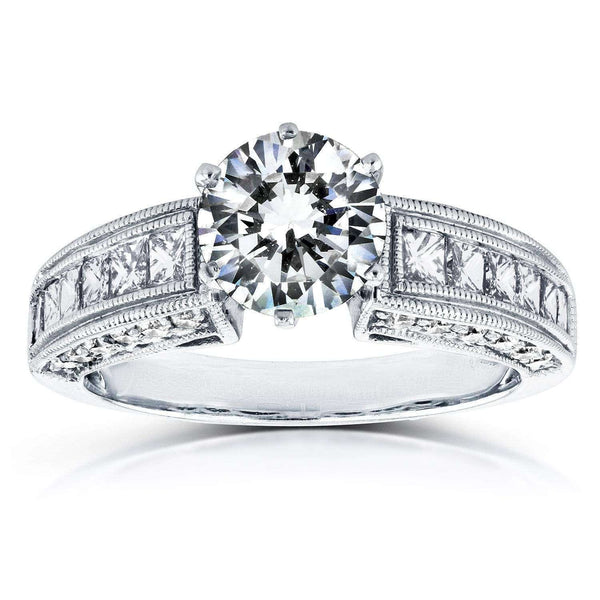 Kobelli Vintage Round and Princess Diamond Engagement Ring 1 4/5 CTW in 14k White Gold