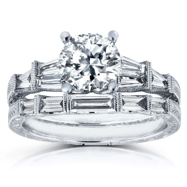 Kobelli Round and Baguette Diamond Art Deco Bridal Rings Set Certified 1 4/5ct TDW in 18k White Gold 51248X-102/7.5W