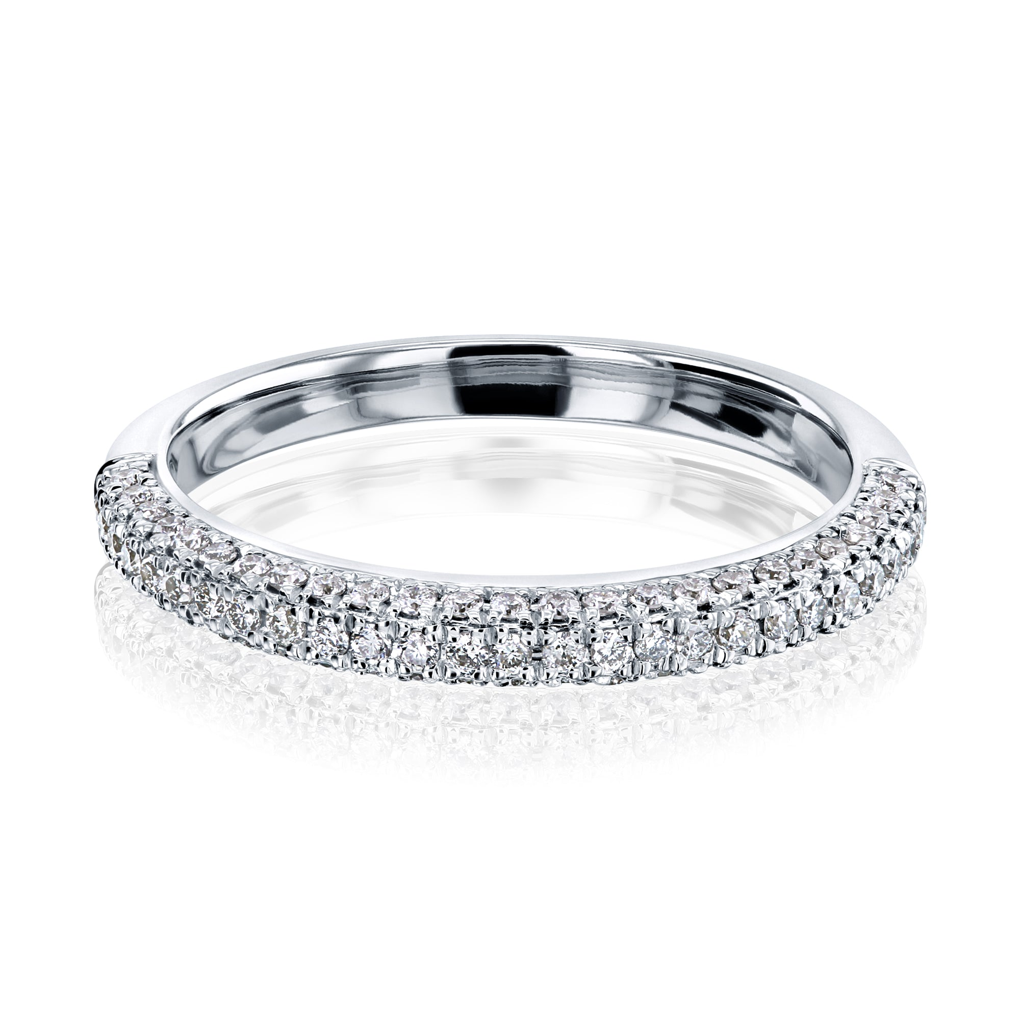 Reviews Three Row Curved Diamond Band - 6.5
