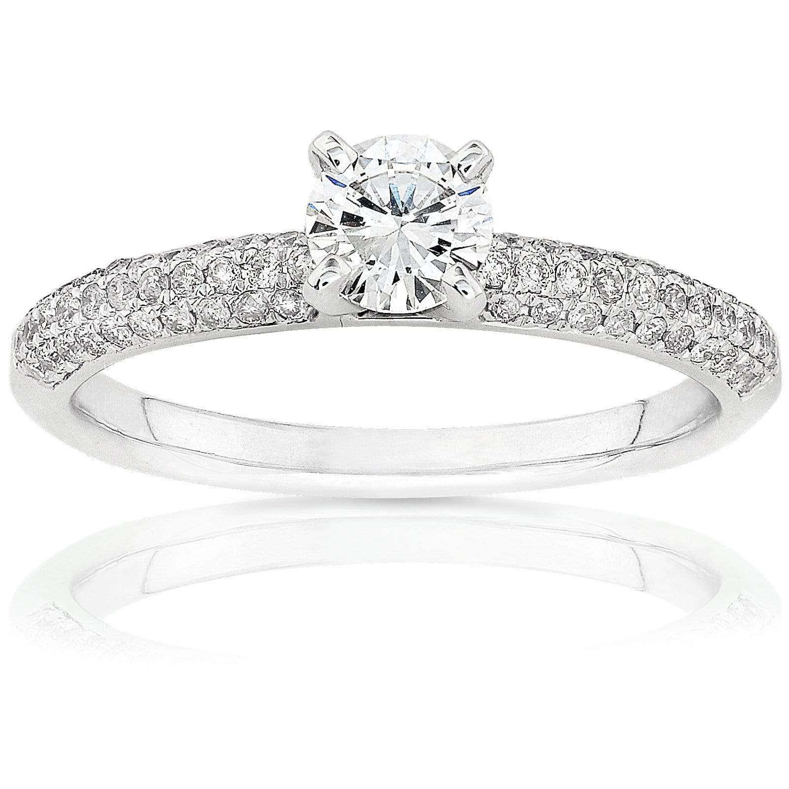 Coupons Round-Brilliant Diamond Engagement Ring 3/4 Carat (ctw) in 14K White Gold - 8