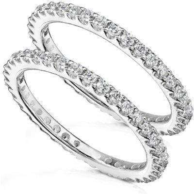 Kobelli Diamond Eternity Bands 1 carat (ctw) in 14K White Gold (2 Piece Set)