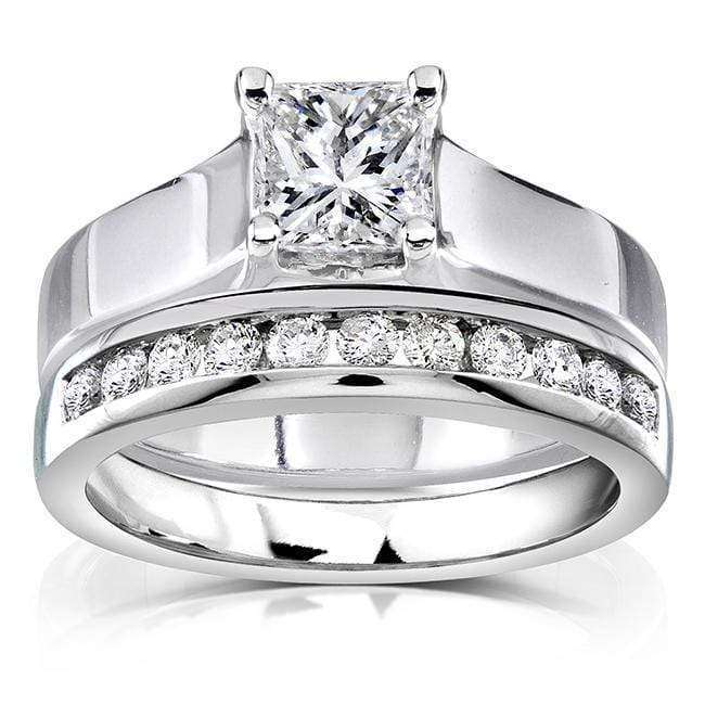 Top Princess Cut Diamond Bridal Set 1 Carat (ctw) in 14k White Gold - 5